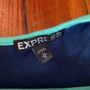 Express Tops - Express Peplum Zipper Tank Top Teal & Navy Size M